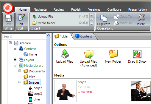 6.3 Uploading Media Files In the Media Library, there are three different ways to upload media files: Upload Files Upload Files (Advanced) Drag & Drop 6.3.1 Upload Files Use the Upload Files button to add single or multiple files to the Media Library.
