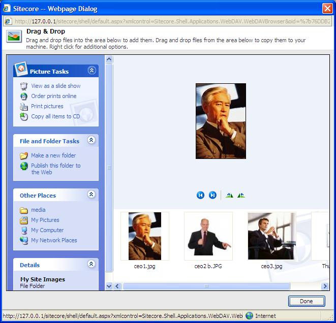7. The Drag and Drop dialog box displays the images that you want to upload. 8.
