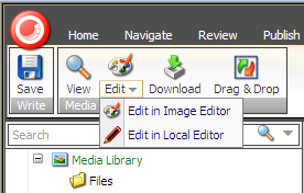 If you select an image item and then click the top half of the Edit command, you open the image in the Sitecore Image Editor by default.