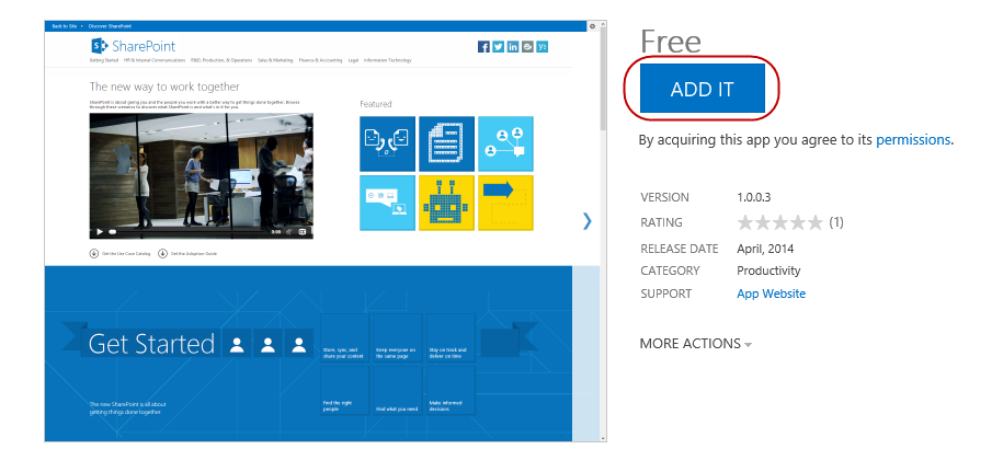 3. Click SharePoint Store 4. Search the SharePoint Store for Discover SharePoint 5.