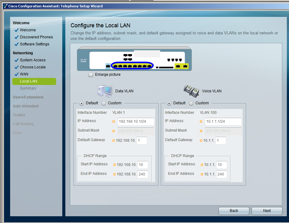 Next configure your LAN settings to meet your site specific requirements.