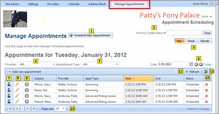 MANAGE APPOINTMENTS Before appointments can be scheduled, it s necessary to perform set-up procedures in the Settings and Providers sections of the application.