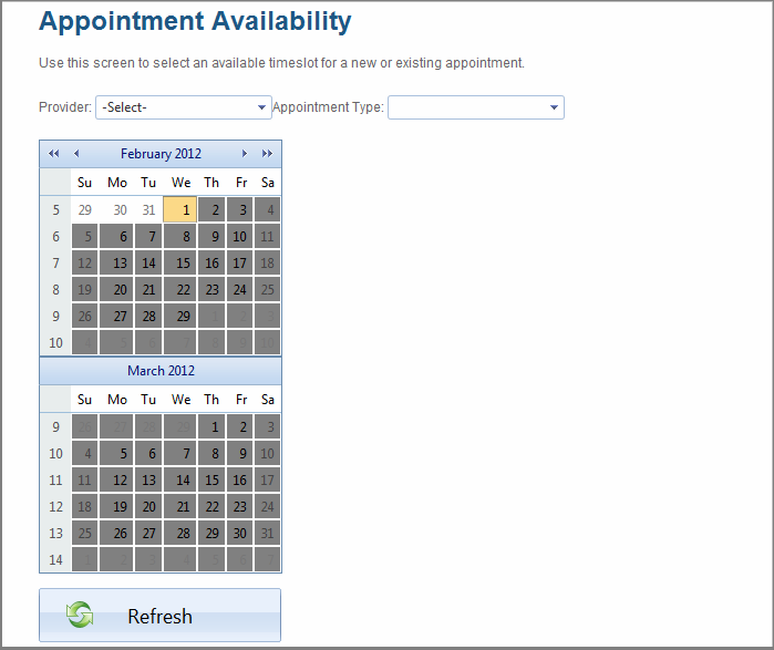 Scheduling an Appointment in Manage Appointments You can also schedule appointments in the Calendar section. (See page 88 for details.