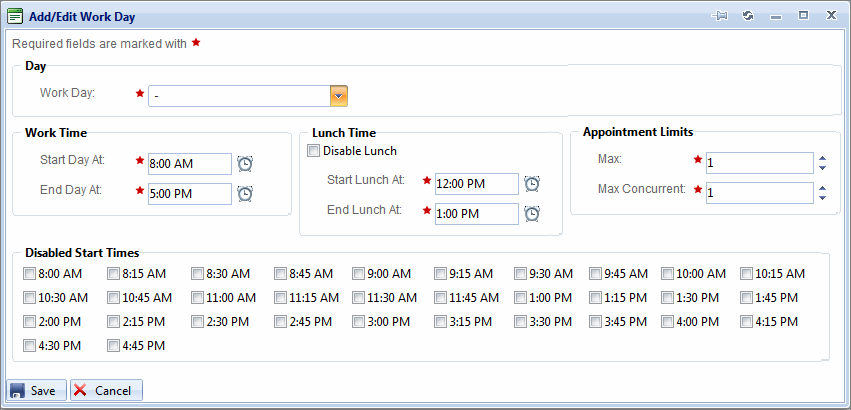 The Add/Edit Work Day dialog box opens. NOTE: The specific Days and Times that can be selected in this screen are controlled by Calendar Settings configured for the Schedule in the Settings section.