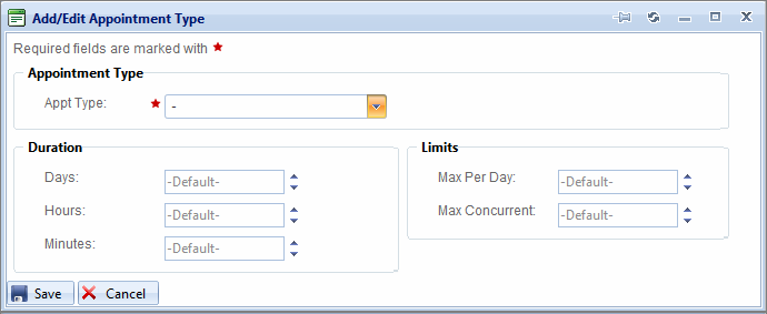 5 Select from the Provider drop-down menu to indicate the Provider for which you want to define an Appointment Type. 6 Click. The Add/Edit Appointment Type dialog box opens.