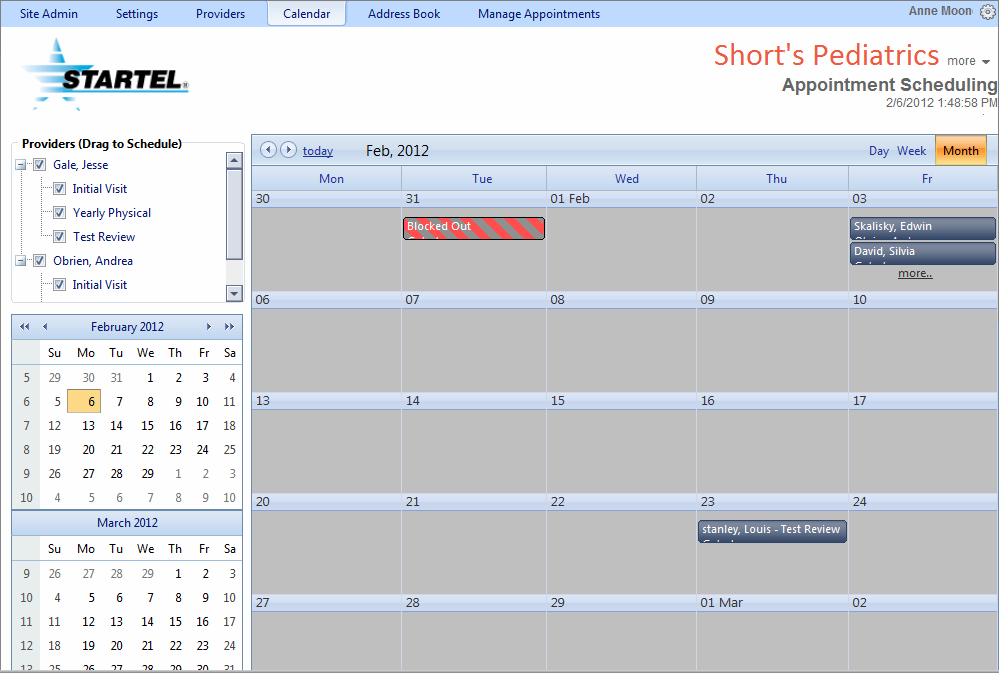 This sample screen has been switched to Month view.