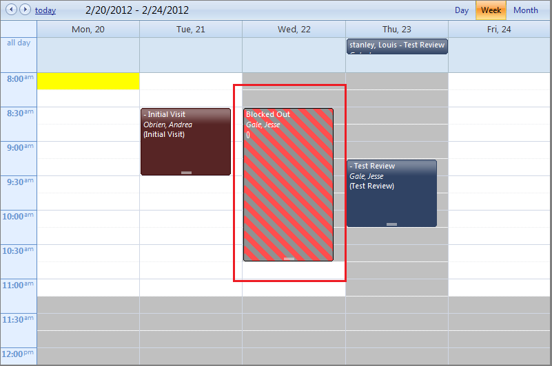 Using the Calendar Block Out Feature The Calendar section has a Block Out feature that you can use to block out normally-available time periods as Unavailable for Scheduling.