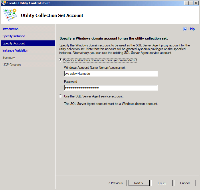 Figure 6: The Specify Account page of the Create Control Point Wizard The Instance Validation page of the Create