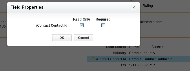 8. After adding icontact Contact Id to the page, hover over it a. Click the wrench to edit b. Choose Read-only c.