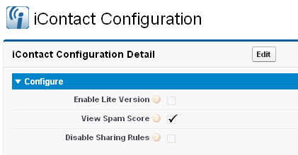 Configuring icontact for Salesforce (You re almost done!) 1. Click All tabs (+ or > on far right tab) 2. Click on 3. Click Edit 4. Configure a.