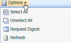 Options - Allows you to select or unselect all entries in a list, which is helpful if you have a long list and you want to clean it out. (Fig. 4a.