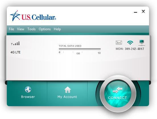 CONNECTING U.S. Cellular Broadband Connect allows users to connect to the data network by clicking one button on the main User Interface.