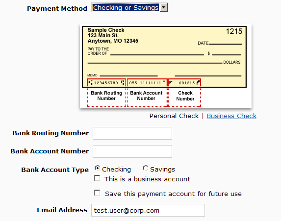 Payment Method Section Payment Method Section In the Payment Method section, users who have a saved payment method can select a saved payment method, if any, or Use a new