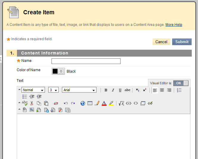 FIGURE 2.4 The Create Item page. The Add Items page allows you to post a document to your Blackboard course.