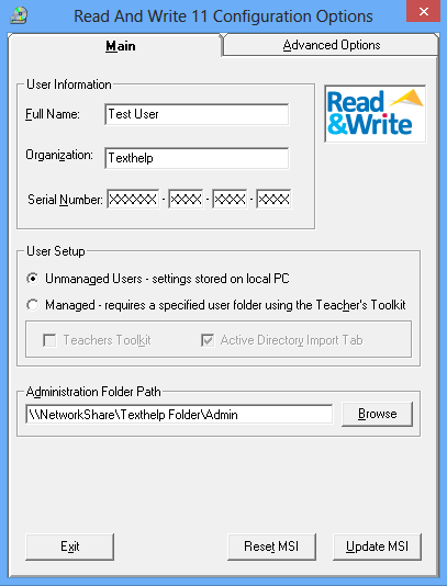 Unmanaged Mode If installing Read&Write in Unmanaged mode you must provide a path to the Admin Folder.