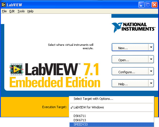 OpenStax-CNX module: m13035 2 Figure 1: Switch Execution Target to your DSP hardware device 1.1.1 Start With a New Blank LabVIEW VI 1. Select FileNew VI to start a new LabVIEW application.