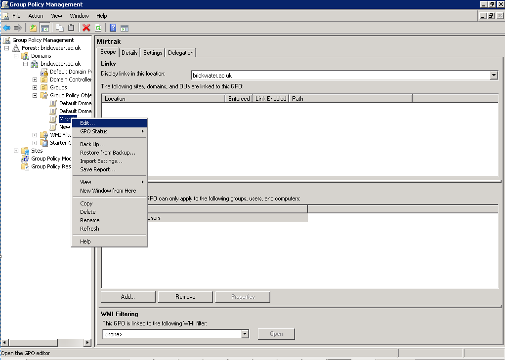 4. The new Group Policy Object will appear under the Group Policy Objects node.