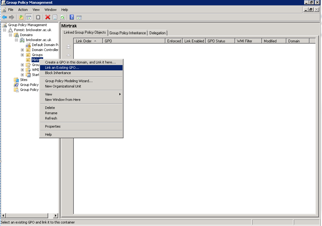 Return to the Group Policy Management window, locate the group of
