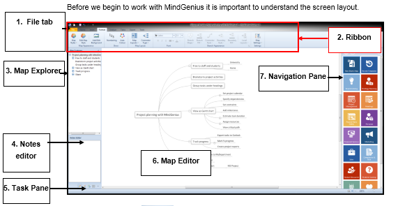 Project Planning with MindGenius The Screen Layout 1 The File tab is where you will find the key functions such as save and print. 2 The ribbon appears at the top of the screen.
