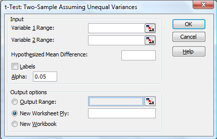 The tool is located at: Tools / Data Analysis / t-test: Two Sample Assuming Unequal Variances The tool's dialog box asks for the following 6 pieces of data: 1) Variable 1 Range: Variable 1 represents