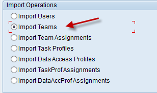 Importing Teams 1. From the initial screen, select the appropriate radio button for Import Data. 2. Next, enter the name of the Environment where you want to create the users.