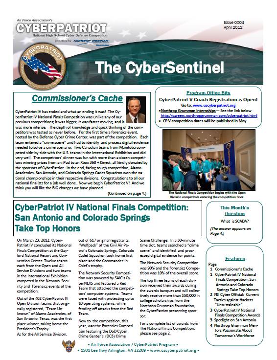 CyberPatriot news items Competitor acheivements Cyber education Cyber career