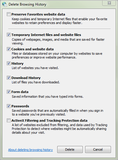 5. Check all the boxes except the first one, Preserve Favorites website data, and the last one, ActiveX Filtering