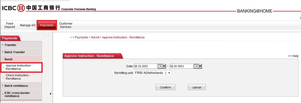 37 STEP 2 (Login with Approver ID) Go to [Payments] [Remit] [Approve Instruction