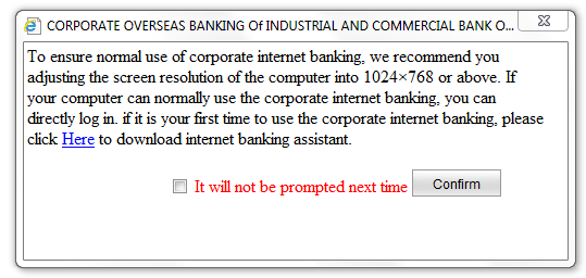 5 Log on step 2 of 3 When clicking on the Corporate Banking under User Login this popup will appear: Select
