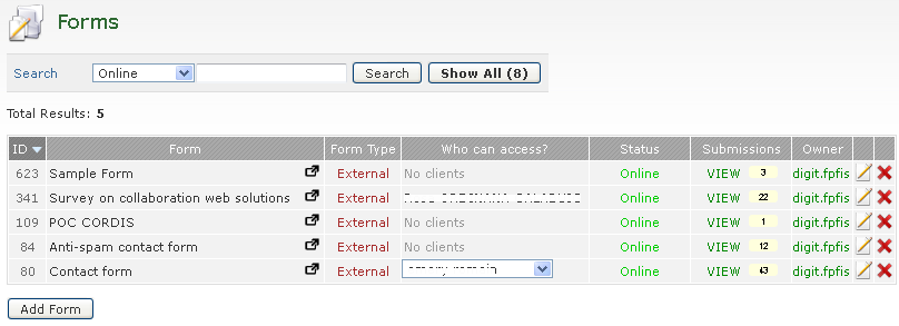 Administrator clients can: Can view their own forms and those for which they have permissions to view submissions. View Submissions: VIEW link in the Submissions column.