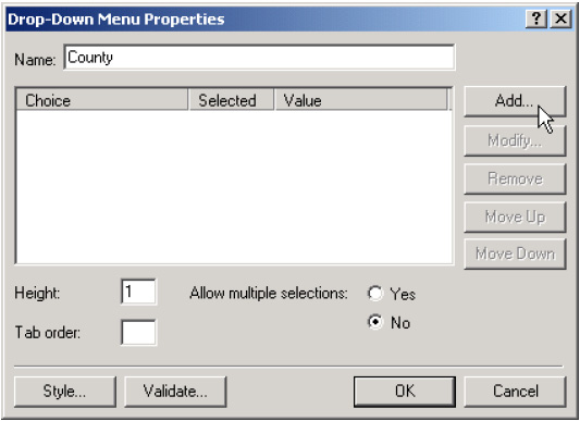 Adding Drop-Down Menus Page 14 Enter the first Choice that you want to appear in the drop-down menu, select Specify Value so that