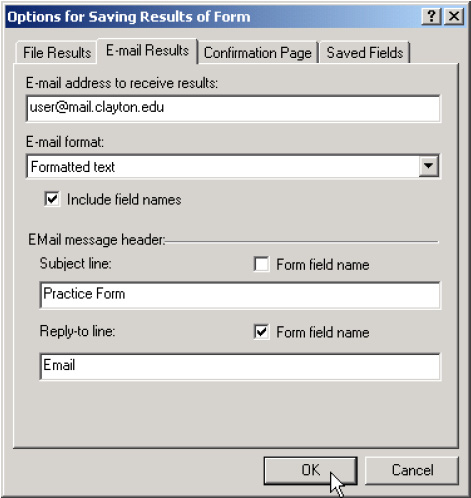 "Sending Form Data via E-Mail Page 18 names"" is checked."
