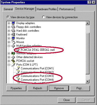 6. Windows will find and install two Communications Ports automatically. 7. To check whether the Serial PC Card is installed properly, please click Start! Settings! Control Panel! System!