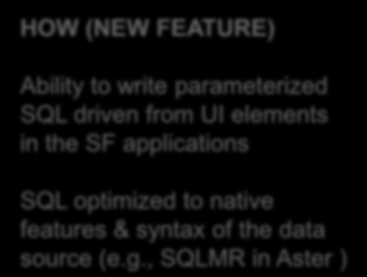 Authors can create complex applications faster and easier HOW (NEW FEATURE) Ability to write parameterized SQL driven from UI elements in