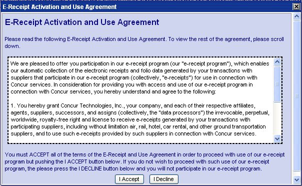 Click on the E-Receipt Activation link, and the user must accept the E-Receipt Activation and Use Agreement.