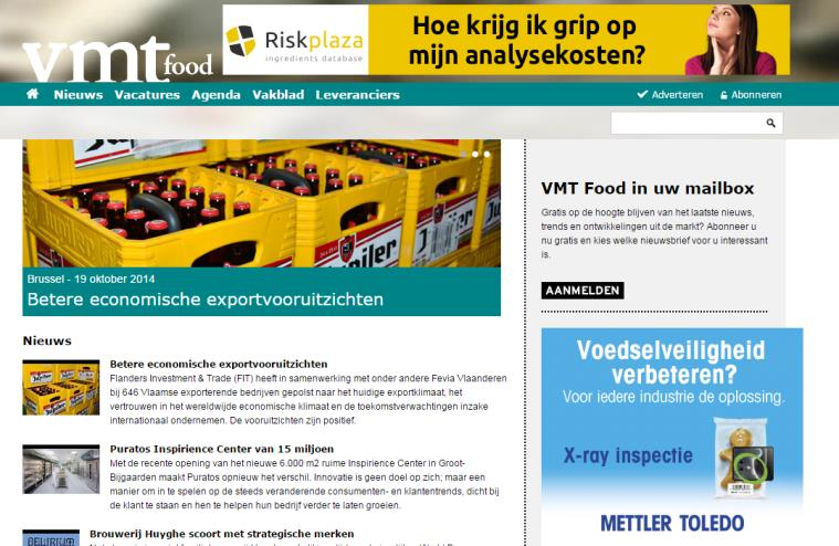 ~ 4 ~ THE WEBSITE VMT FOOD The information platform for the food industry in Belgium Unique visitors: 600 a month Page views: 2,500 a month VMTFood.be VMTfood.
