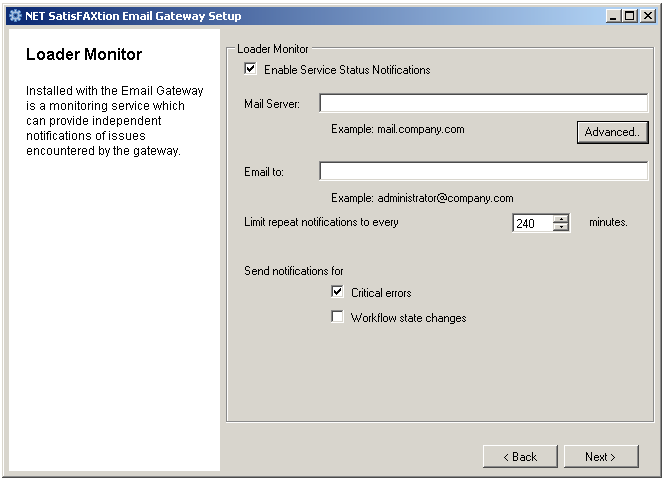NET SatisFAXtion Email Gateway Installation Guide Page 18 Link Settings Allows received faxes for email gateway users to be copied to a special location on a network share (if licensed for Export),