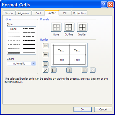 Format Cells options 22. Click the OK button. Notice the pivot table has visible grid lines. 23.