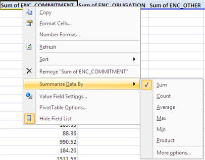 Summarize data options 16. Click the lettered column header above the ENC_COMMITMENT field. Notice this will select the entire column.