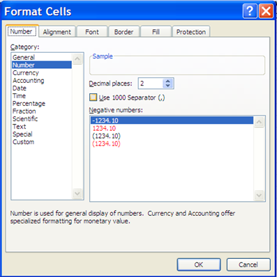 Format Cells options 19. Click the OK button. Notice the commitment, obligation, other and actual columns are now formatted as numbers with 2 decimal places. 20.
