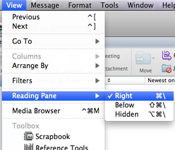 Change the view of the Reading Pane Do one of the following: From the Ribbon, go to Organize tab click on Reading Pane choose a