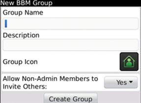 The new BBM Group page will display.