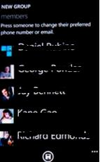 Windows phone Think about what kind of group you need to create, then choose from a selection of categories such as family, friends or a group of co-workers.