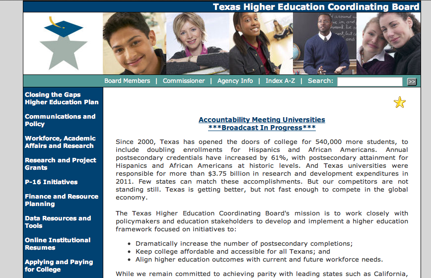 WEBSITES Texas Higher Education Coordinating Board www.
