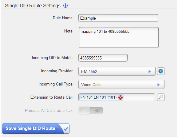Next, navigate to Setup>Call Routing>Incoming Calls and click Create Single DID Route.