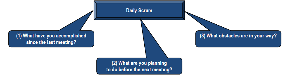 Daily Scrum During a sprint, the Scrum Team meets daily for a short status meeting, called the Daily Scrum.