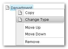 Note Changing field type removes the current settings associated with the field.