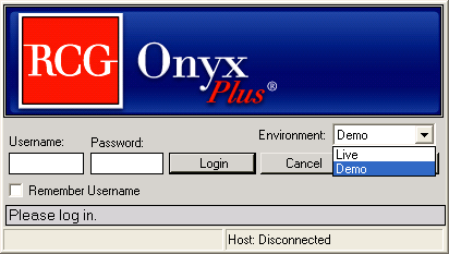 Logging In Once you have installed RCG Onyx Plus an icon will be added to your desktop.