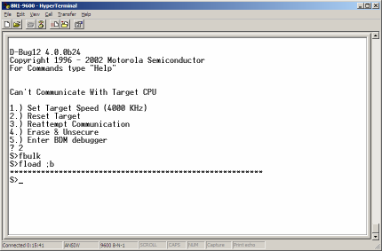 Once the download is complete, you should be presented with the prompt (Figure 4). The HCS12 Serial Monitor has successfully been written to the target board.