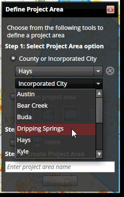 Create on Map Press the Create button on the Manage Project Areas dialog and follow these basic steps: Step 1: Select Project Area Option County or Incorporated City This option requires you to
